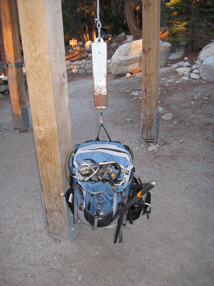 Weighing packs at the trail head.