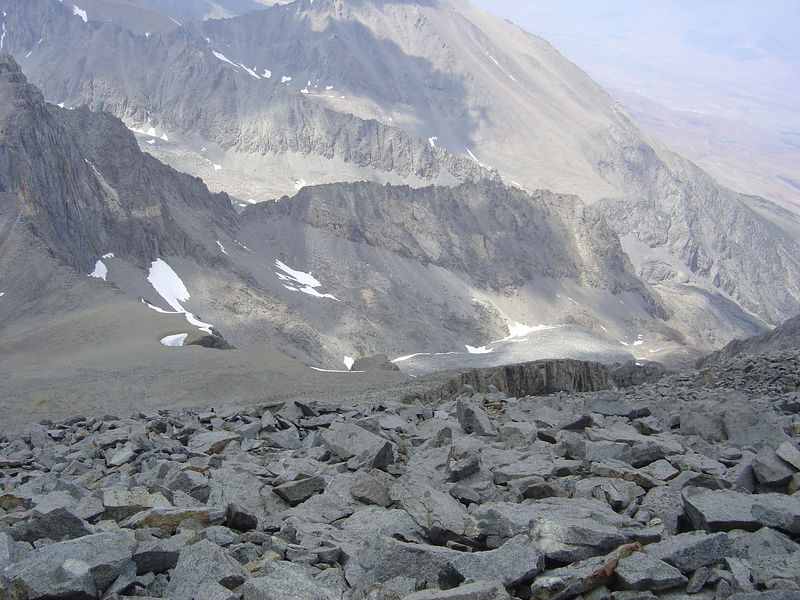 Looking down the talus slope.