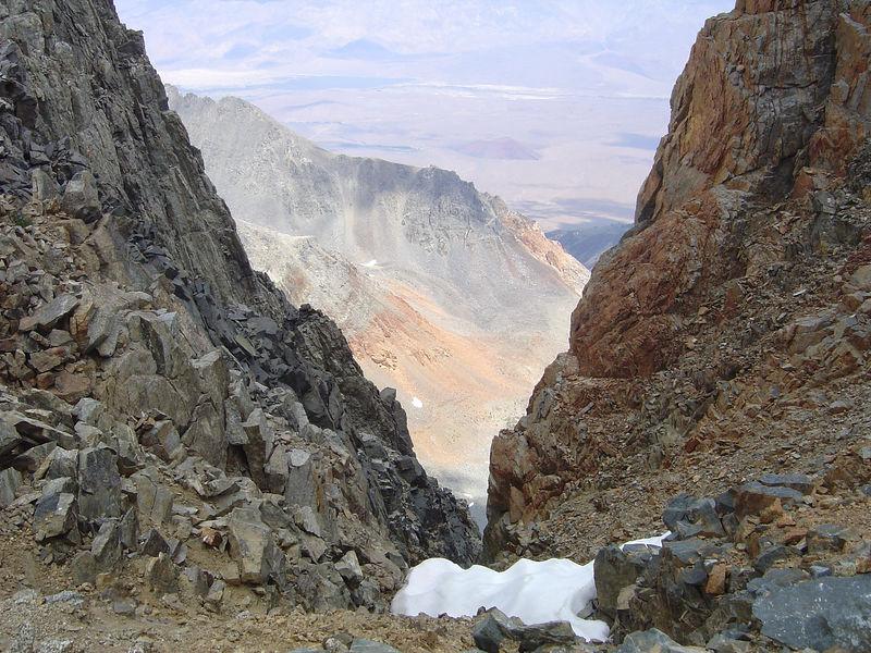 Steep gullies along the north slope ridge.