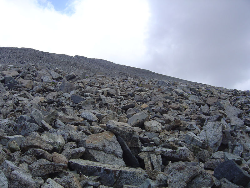 Talus slope to the summit.