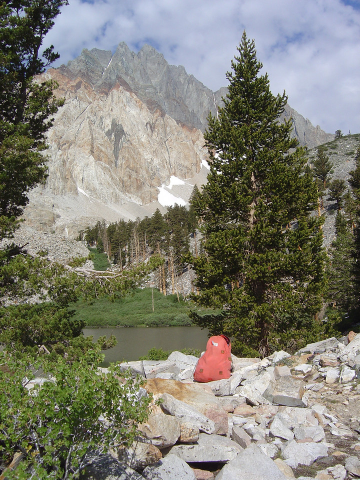 Split Mountain comes into view from an unnamed lake below Red Lake.