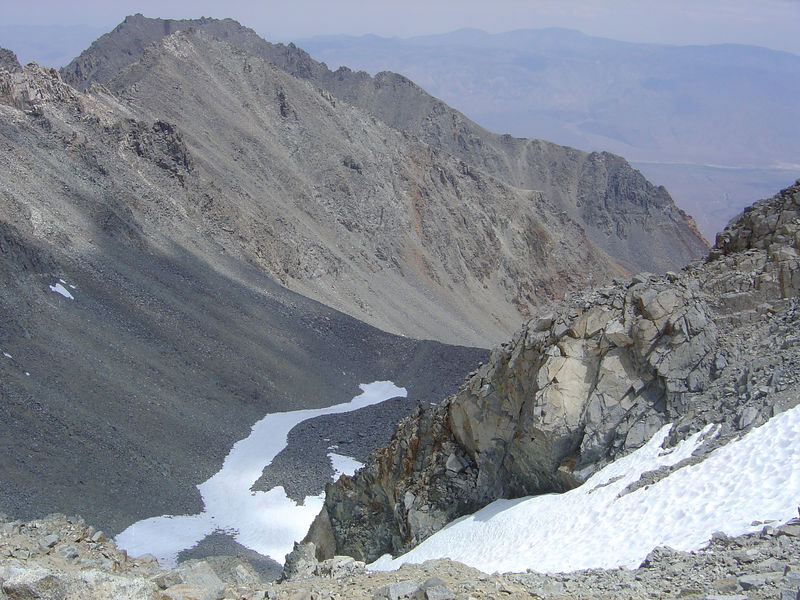 The snow field from the saddle.