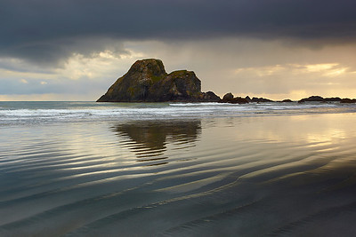 Low tide at sunset produces some nice effects on a flat beach such as the ones near Trinidad.  So when I noticed some dramatic cloud and light behind Camel Rock, I included lots of soft ripples to contrast with the dramatic cloud and rock.  Waves kept moving in and erasing the patterns and reflections, so it took quite a while before things settled down into the arrangement you see here.  Then I waited for some breakers to happen in front of the rock.
