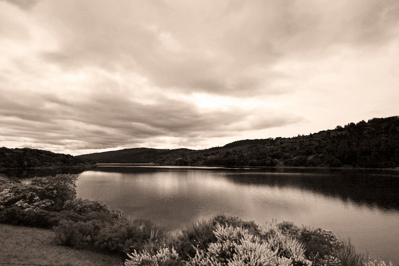 Crystal Springs Reservoir in Sepia, San Mateo CA