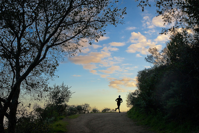 Jogger Rounding the Corner, Roberts Regional Park, Oakland CA