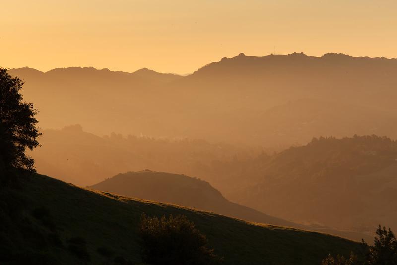 Winter Sunrise over East Bay Hills from Tilden Park, Berkeley CA
