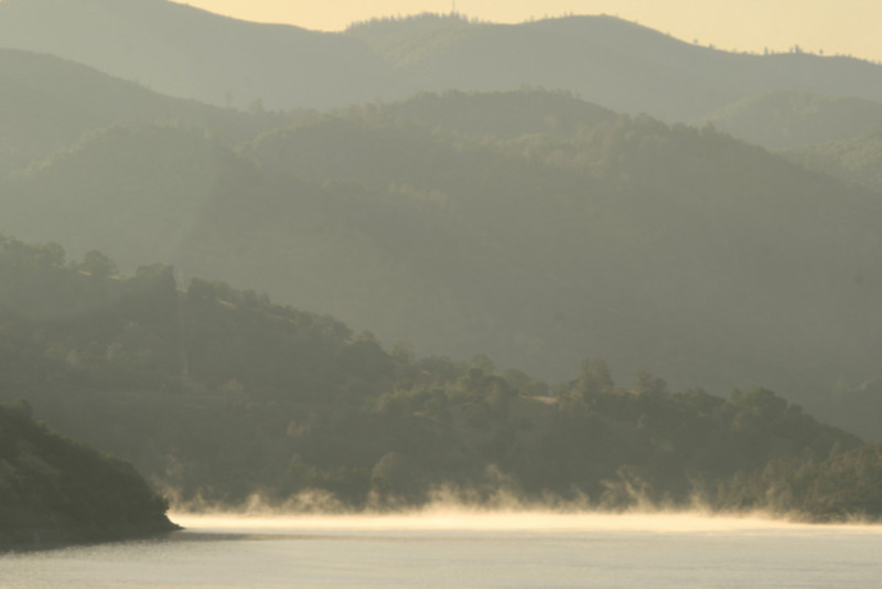 Layered Landscape in AM, Don Pedro Reservoir, CA