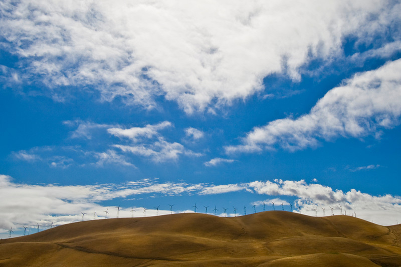 Golden Hills, Windmills, and Cloudy Sky, Altamont Pass, Livermore CA