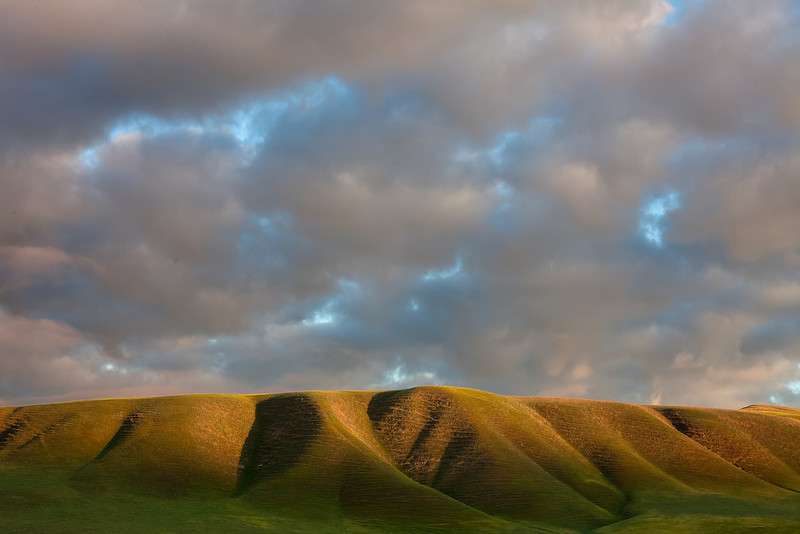 Sunrise, Puffy Clouds, and Hills, Near Paso Robles CA