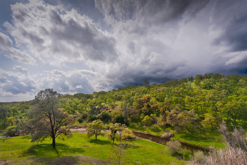 Seasonal Creek in Foothills and Stormy Sky, El Dorado County CA