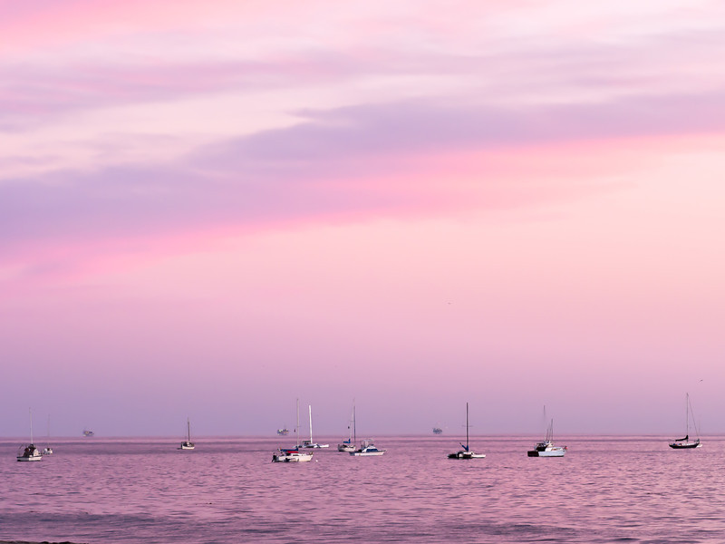 Boats off Coast of Santa Barbara at Dusk