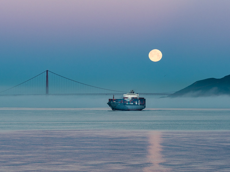 Moon Setting over Golden Gate and Ship