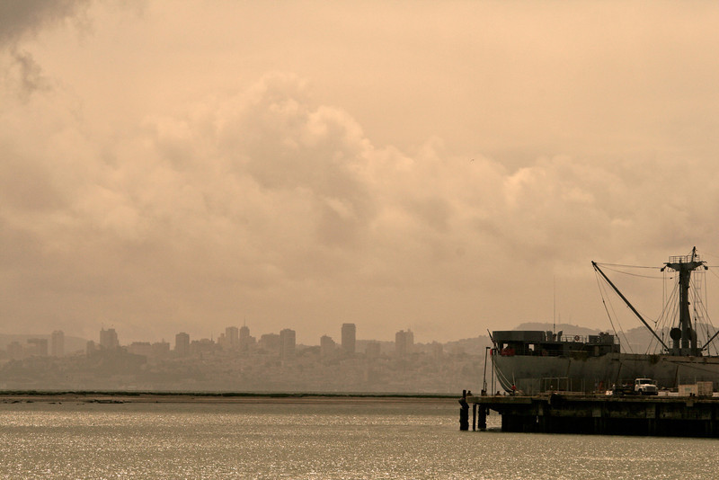 Cargo Ship and Downtown SF, Richmond CA