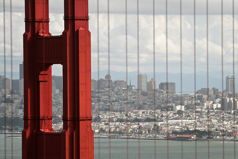 Golden Gate Bridge Section and San Francisco Skyline