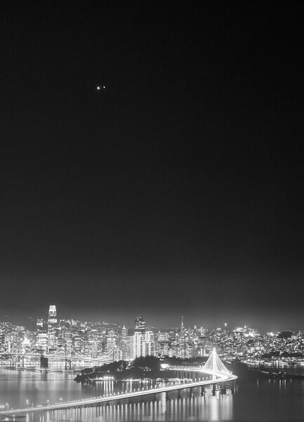 Jupiter and Saturn Setting over San Francisco