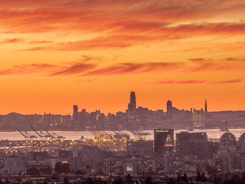 Orange Sunset over Oakland and San Francisco