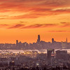 Orange Sunset over Oakland and San Francisco