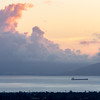 Two Ships on San Francisco Bay and Sunset Infused Clouds