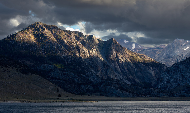 Grant Lake, Patch of Light, and Stormy Sky, Eastern Sierras CA