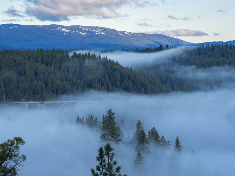 Fog, Train Trestle, and Early Morning Clouds