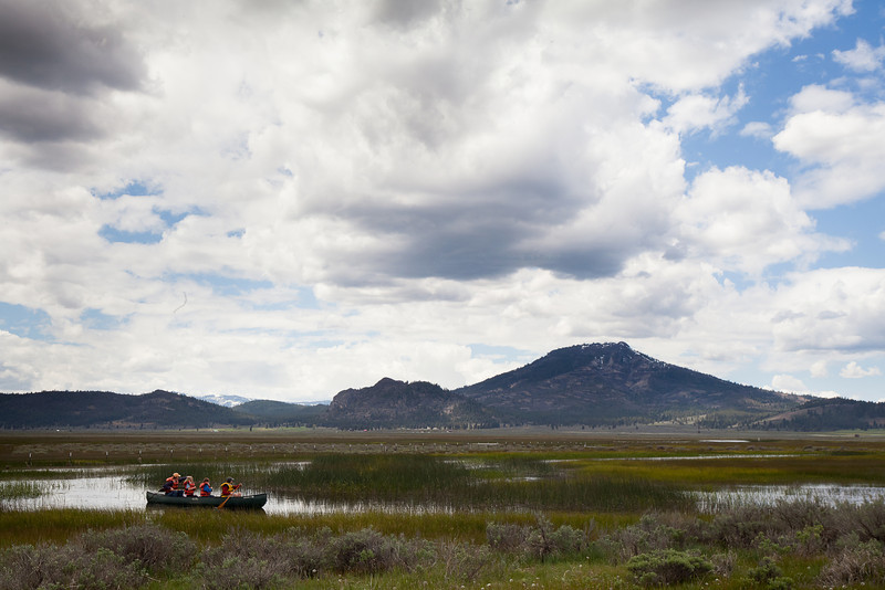 Family Canoeing Sierra Wetlands, Plumas County CA