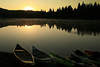 Boats on Graeagle Mill Pond at Sunrise, Graeagle CA