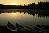 Boats on Graeagle Mill Pond at Sunrise, Graeagle CA