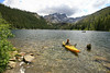 Kayaker on Lower Sardine Lake, Plumas County, CA