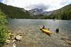 Kayaker on Lower Sardine Lake, Plumas County, CA