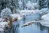 Bend in the River Covered with Fresh Snow