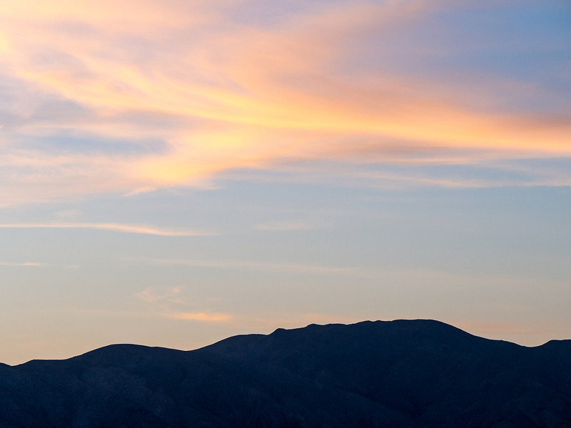 Mountain Range and Evening Cloud, Anza Borrego State Park, CA
