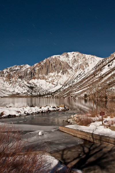 Convict Lake boat ramp and the Sevenhah Cliffs