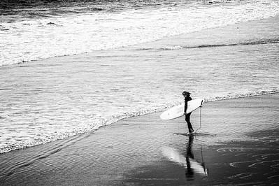 Meditating surfer