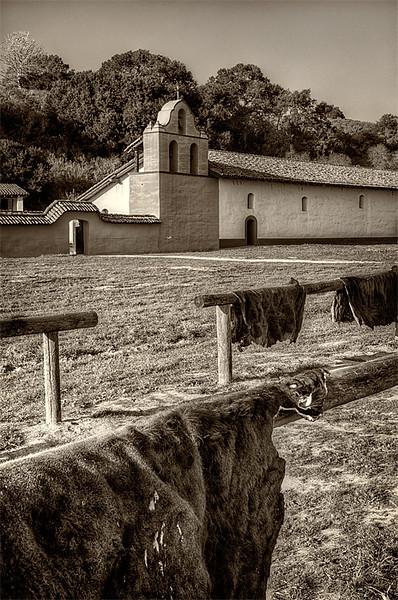 Drying hides, Mission La Purisima