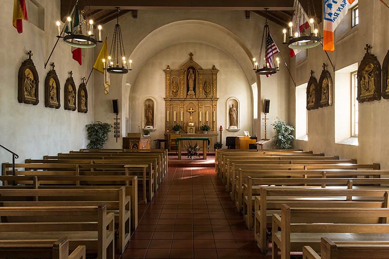 Interior of Mission San Rafael Arcangel.