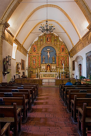 Inside Chapel at Mission San Carlos. It is the only mission in the El Camino Real chain with an arched ceiling.