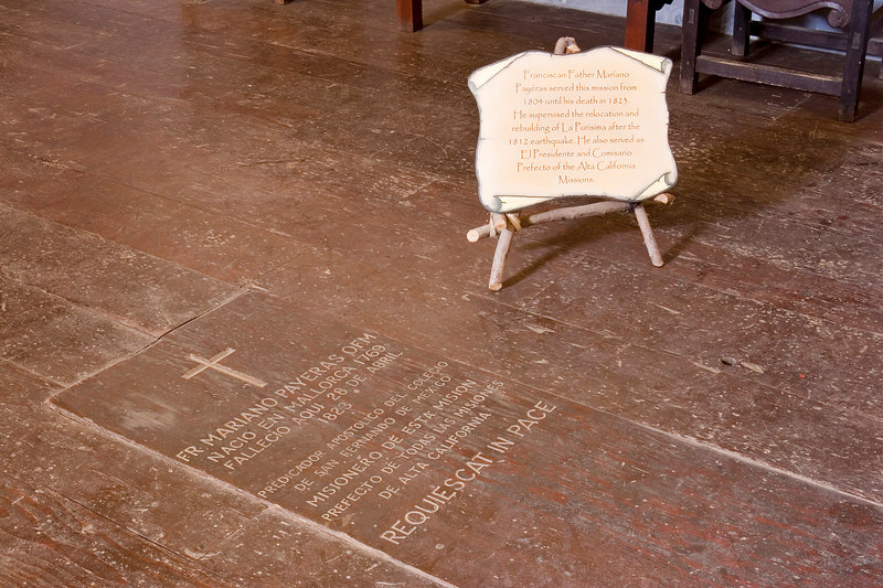 Padre Mariano Payeras is interred below the floorboards of the alter at Mission La Purisima.