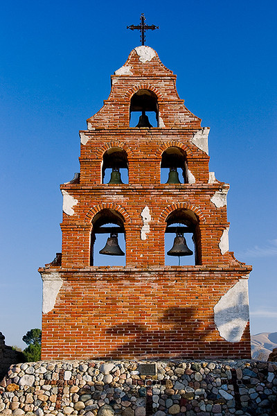 This bell companario at Mission San Miguel was built in the mid 1940's to honor a WWII army chaplain.