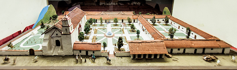 Model showing what Mission San Buenaventura looked like when it was first built.