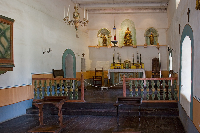The private chapel of the padres inside the residence building of Mission La Purisima.