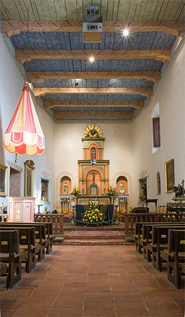 Mission San Diego Chapel interior.