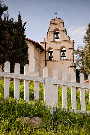 Bell Companario of Mission San Juan Bautista, as seen from a stairway that leads down to a rare preserved section of the original El Camino Real.