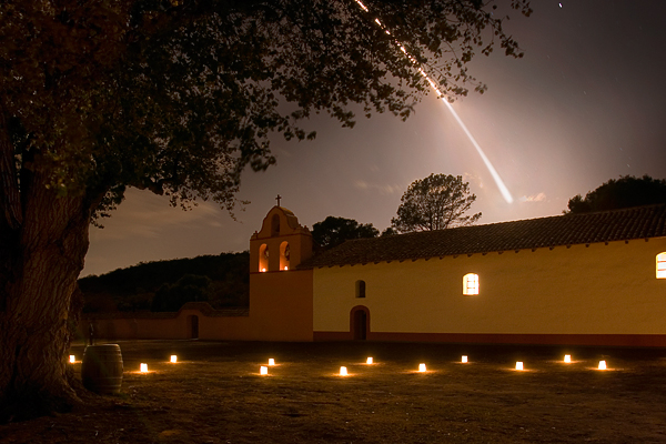 Rocket launch seen from La Purisima Mission, Founding Day, 2007.