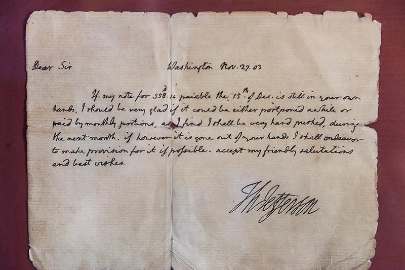 Note from Thomas Jefferson regarding Mission San Buenaventura, Ventura.