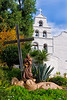 Mission San Diego with statue of Junipero Serra.