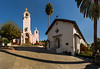 Mission San Rafael Arcangel was the twentieth mission in the El Camino Real chain. It was founded on December 14th, 1817 by Father Vicente de Sarria as a hospital asistencia for Missoin Dolores (San Francisco de Asis), but given full mission status in 1823. Built during the unsettled years of turnover of from Spanish to Mexican authority, little thought was given to it's design. It never achieved a quadrangle and it never acquired a bell tower. Today, the city of San Raphael has grown around the remains of the old mission, and the St. Raphael church looms over the old chapel.