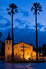 A rainy evening at Mission Santa Clara.