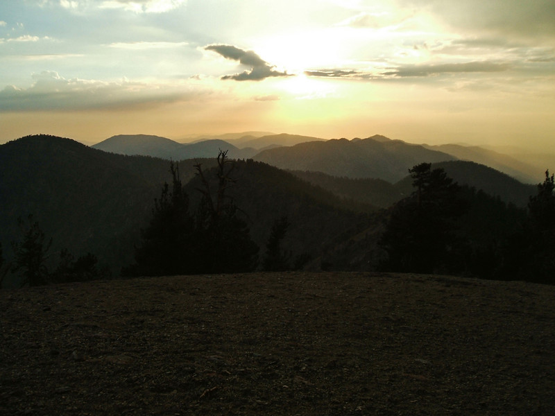 Sunset from the summit of Mt. Baden-Powell.