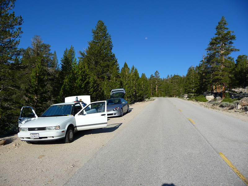 The Rally Sentra and the Silver Bullet at the old Cottonwood Lakes Trailhead.<br /> <br /> The moon was still fairly high in the sky.