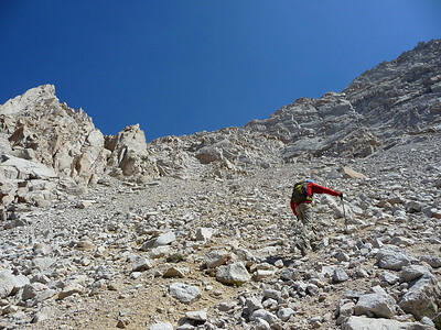 Mike negotiating the almost intolerable scree.